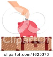 Hand Travel Save Piggy Bank Illustration
