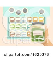 Poster, Art Print Of Hand Drawer Containers Illustration