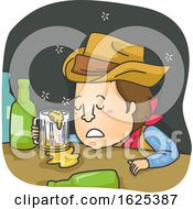 Man Cowboy Drunk Illustration