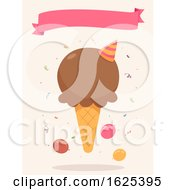Poster, Art Print Of Ice Cream Party Ribbon Illustration