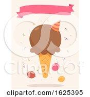 Ice Cream Party Ribbon Illustration