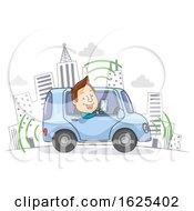 Poster, Art Print Of Self Driving Car Drive Man Illustration