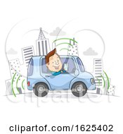 Self Driving Car Drive Man Illustration
