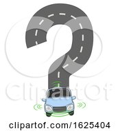 Self Driving Car Question Mark Illustration