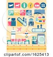 Poster, Art Print Of Airport Facilities Elements Illustration
