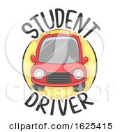 Car Student Driver Icon Illustration