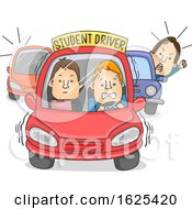 Man Car Student Driver Illustration