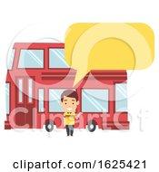 Poster, Art Print Of Man Double Decker Bus Illustration