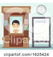 Man Train Ticket Office Board Illustration