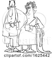 Cartoon Black And White Chubby Couple In Robes And PJs Holding Their Morning Coffee Mugs
