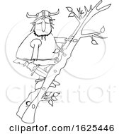 Cartoon Black And White Viking Climbing A Ladder Made Of Tree Branches