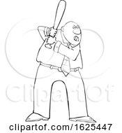 Poster, Art Print Of Cartoon Lineart Tough Black Business Man Batting In A Baseball Game