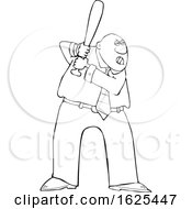 Cartoon Lineart Tough Black Business Man Batting In A Baseball Game