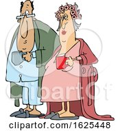 Cartoon Chubby White Couple In Robes And PJs Holding Their Morning Coffee Mugs