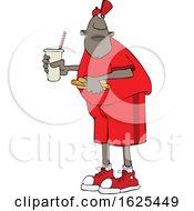 Cartoon Black Man Holding A Fountain Soda And Hot Dog