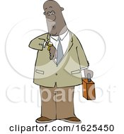 Cartoon Black Business Man Checking His Watch