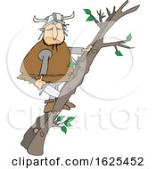 Cartoon Viking Climbing A Ladder Made Of Tree Branches