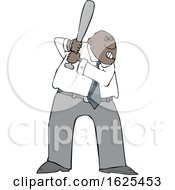 Cartoon Tough Black Business Man Batting In A Baseball Game