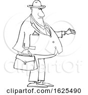 Cartoon Lineart Black Male Debt Collector Holding His Hand Out