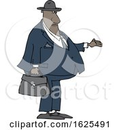 Cartoon Black Male Debt Collector Holding His Hand Out