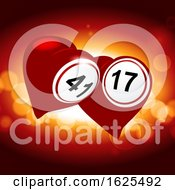 Poster, Art Print Of Bingo Lottery Valentine Red Hearts Background