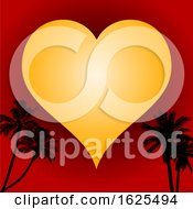 Poster, Art Print Of Love Heart On Red Background And Palm Trees