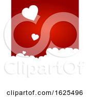Poster, Art Print Of Valentine Red Background With White Hearts Copy Space