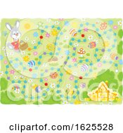 Poster, Art Print Of Easter Maze With A Rabbit Eggs And House