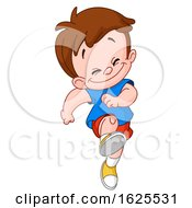 Cartoon Happy White Boy Skipping