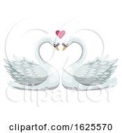 Poster, Art Print Of Swan Pair And Valentine Heart