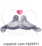 Poster, Art Print Of Pigeon Pair And Valentine Heart