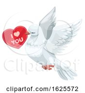 Dove Flying With A Valentine Heart