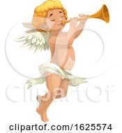 Poster, Art Print Of Cupid Or An Angel Blowing A Horn