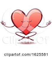 Cartoon Love Heart Meditating