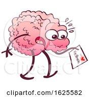 Poster, Art Print Of Cartoon Brain Receiving A Letter From The Heart