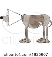 Cartoon Injured Brown Dog Wearing A Cone