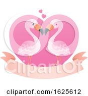 Pink Flamingo Couple Over A Valentine Heart And Banner