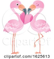 Poster, Art Print Of Pink Flamingo Couple With A Valentine Heart