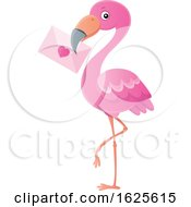 Poster, Art Print Of Pink Flamingo With A Valentine Envelope