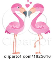 Poster, Art Print Of Pink Flamingo Couple With Love Hearts