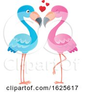 Pink And Blue Flamingo Couple With Love Hearts
