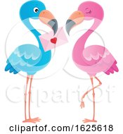 Pink And Blue Flamingo Couple With A Valentine Letter