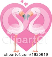 Pink Flamingo Couple Over A Valentine Heart