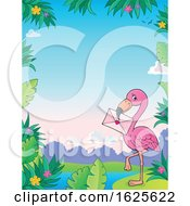Poster, Art Print Of Border Of A Pink Flamingo With A Valentine Envelope