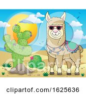 Llama Wearing Sunglasses In A Desert