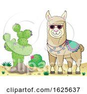 Llama Wearing Sunglasses By A Cactus