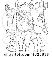 Poster, Art Print Of Black And White Llama Wearing Heart Sunglasses And Cactus Plants