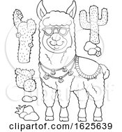 Black And White LLama Wearing Sunglasses And Cactus Plants