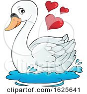 Poster, Art Print Of Valentine Swan With Hearts
