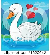 Poster, Art Print Of Swimming Valentine Swan With Hearts